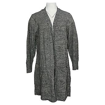 Denim & Co. Women's Sweater Marled Long-Sleeve Cardigan Black A381050