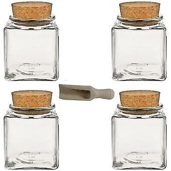 4x Gewrzglas 100ml, Glasdosen mit Kork-Verschluss, Teedosen, Korkenglser, inkl. eine kleine