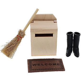 HanFei Miniatur Puppenhaus Zubehr Mini Holz Briefkasten Besen Teppichdecke Schuhe Puppenstube Mikro