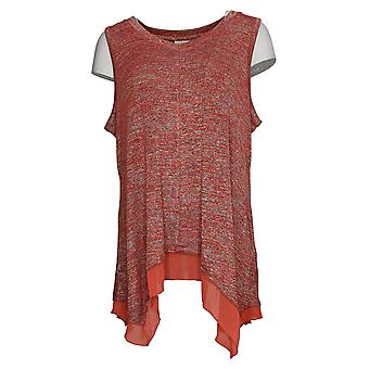 LOGO by Lori Goldstein Women's Top Space Dye Sweater Tank Red A345377