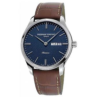 Frederique Constant Men's Classic Quartz | Brown Leather Strap | Blue Dial FC-225NT5B6 Watch
