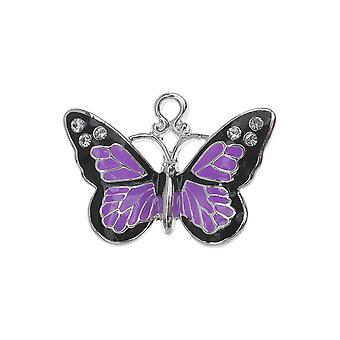 Verzilverde en geëmailleerde charme, Monarch w / Swarovski kristallen, 1 pc, paars