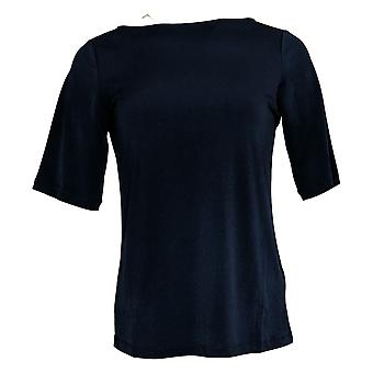 Susan Graver Essentials Flydende Strik Bateau Neck Top Elbow Sleeve Navy XX Lille