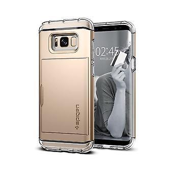 Spigen Crystal Wallet suunniteltu kotelo Samsung Galaxy S8 Kotelo - Gold Mapple