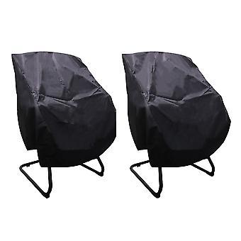 2x polyester boot stoelhoes voor buitenstoel 56x61x64cm zwart&zilver
