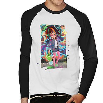 Sindy Wearing Floral Jacket Men's Baseball Long Sleeved T-Shirt