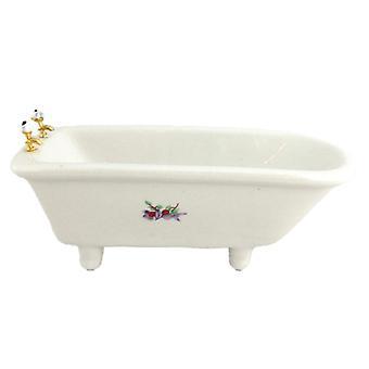 Dolls House White Porcelain Decal Footed Bath Miniature Bathroom Furniture 1:12