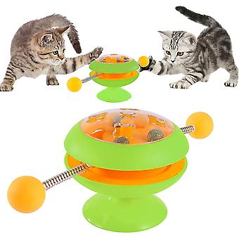 Green interactive cat toys cat teaser stick catnip ball turntable toy cai775