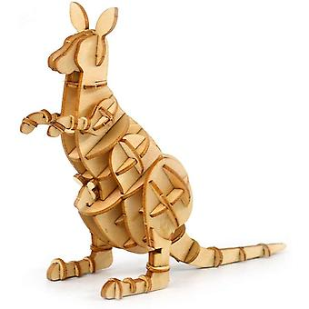 Toys For Kids Adults 3d Wooden Jigsaw Puzzle Animal Kangaroo Model