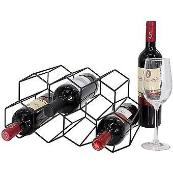 Metal Honeycomb Wine Rack Wine Bottle Storage Tabletop Hexagon 7 Bottle Wine Holder Display (Negro)