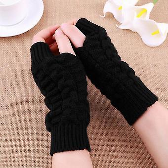 Mode Unisex stickad Fingerless Höst Vinter Lång Stretchy Hand Arm Handskar