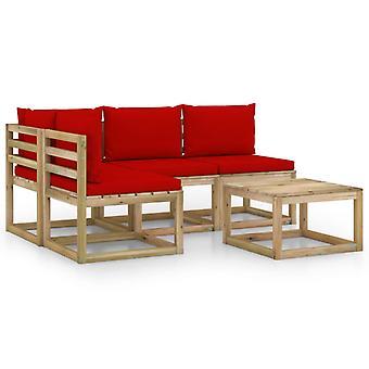 vidaXL 5-tlg. Garten-Lounge-Set mit Roten Kissen