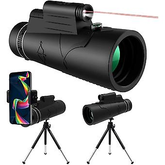 12x50 HD Monocular Telescope with Night Vision LED Red Torch Light, Waterproof Monocular with Phone Holder Tripod Compass for Mobile Phone Bird Watching Camping Hunting Hiking Sightseeing,(black)