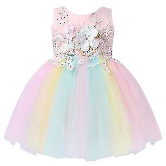 Säugling Mädchen Prinzessin ärmellose bestickte Blume Mesh Tutu Kleid 9-12Monate