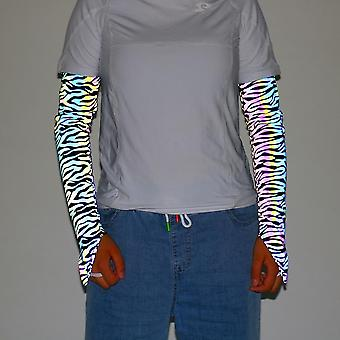 Zebra l 1 pair glowing reflective arm sleeves outdoor cycling sleeves sports fingerless gloves lc902