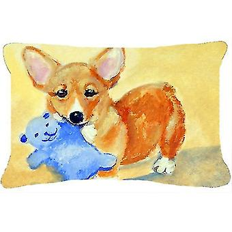 Pillows carolines treasures 7432pw1216 corgi and teddy bear fabric decorative pillow