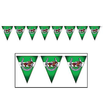 """Balloons beistle 59881 horse racing pennant banner  11"""" x 12'  multicolor"""