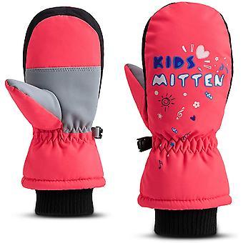 Fäustlinge Kinder Winter Skifahren Rote Handschuhe Wasserdicht Warme Handschuhe Geeignet für Jungen und Mädchen Laufen, Skifahren, Reiten, Outdoor-Sport