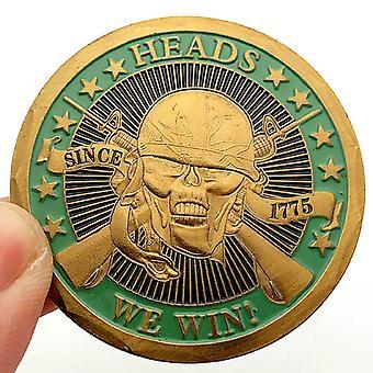 U.s. Navy Totenkopf Helm Gedenkmünze Sammlung Scharfschützenmünze Lucky Vergoldete Gedenkmünze