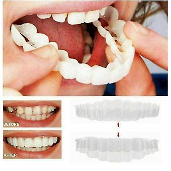 2pcs Smile Snap On Upper False Tooth Dental Veneers Dentures Fake Teeth Cover