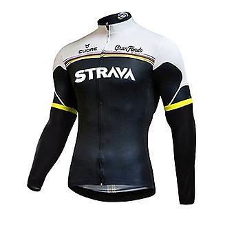 2021 Strava Men Clothing Pro Team Long Sleeve Cycling Jersey Set Bib Pants Ropa Ciclismo Bicycle Clothes VTT Bike Jersey Uniforme