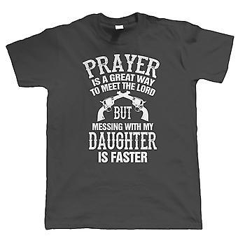 Mess mit meiner Tochter Herren lustige T Shirt, Vatertag Geburtstagsgeschenk für Papa
