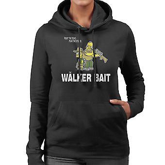 The Walker Bait Walking Dead Rick And Carl Grimes Homer And Bart Simpson Women's Hooded Sweatshirt