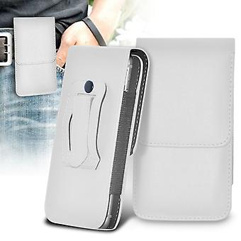 Huawei Y625 Vertical Faux Leather Belt Holster Pouch Cover Case (White)