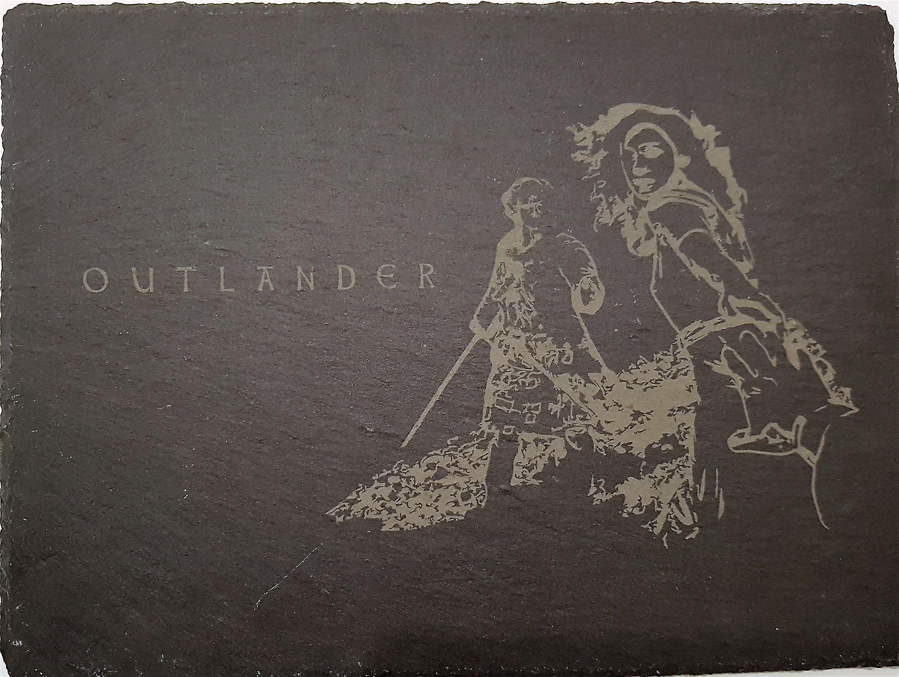 Graham Wishart Laser Etchings Oblong Slate Large with Stand Outlander