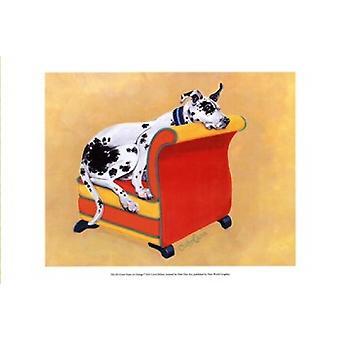 Grand Danois på Orange affisch Skriv av Carol Dillon (19 x 13)