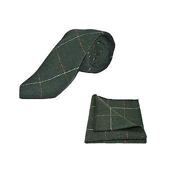 Luksus w jodełkę lasu Tweed zielony mężczyzn krawat & placu kieszeni zestaw