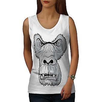 Monkey Angry Face Women WhiteTank Top | Wellcoda