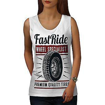Fast Ride Racing Fashion Women WhiteTank Top | Wellcoda