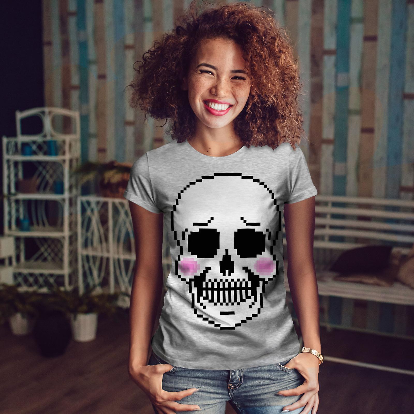 Fard à joues de crâne squelette mignon GreyT-chemise femme | Wellcoda