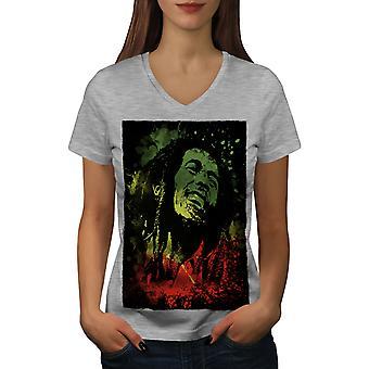 Legend Bob Rasta Marley Women GreyV-Neck T-shirt | Wellcoda