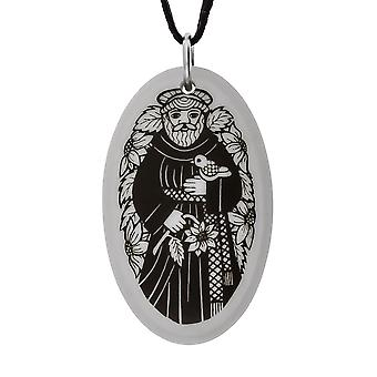 Handmade Saint Francis of Assisi Oval Shaped Porcelain Pendant ~ 20 inch Chain