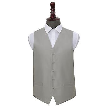 Silver Solid Check Wedding Waistcoat