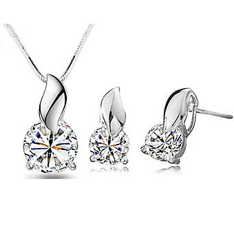 Silver Precious Gems Leaf Style Necklace & Earrings Set