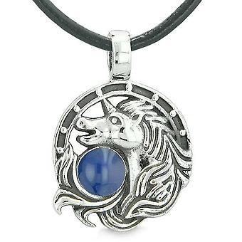 Unicorn Amulet lykkebringer hest skoen magiske kongeblå sirkelen anheng skinn halskjede