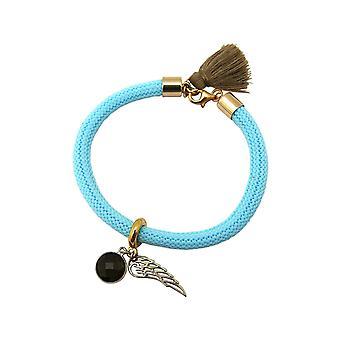 Gemshine armbånd forgyldt ædelsten røget kvarts engel vinger blå brun