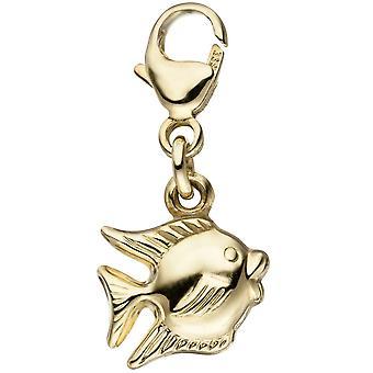 Charme unique de boucles d'oreilles poissons pendentif en or jaune or 333 Goldcharm