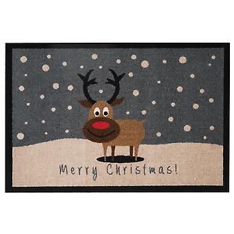 Cojín de felpudo suciedad captura feliz Navidad Reno gris 40 x 60 cm