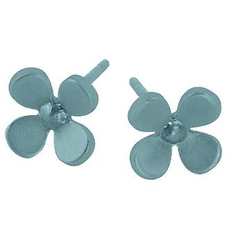 Ti2 Titanium 8mm Four Petal Flower Stud Earrings - Sky Blue