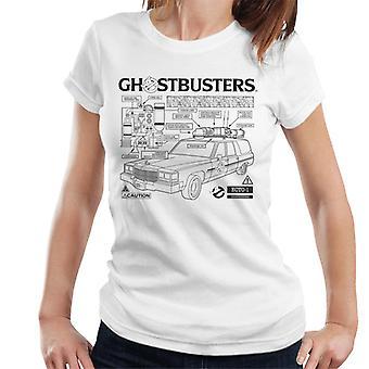 Ghostbusters Ecto 1 Blueprint Black Text Women's T-Shirt