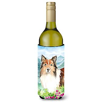 Mountain Flowers Sheltie Wine Bottle Beverage Insulator Hugger