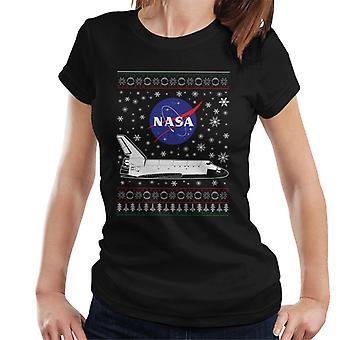 NASA-Logo und Shuttle Weihnachten Strickmuster Damen T-Shirt