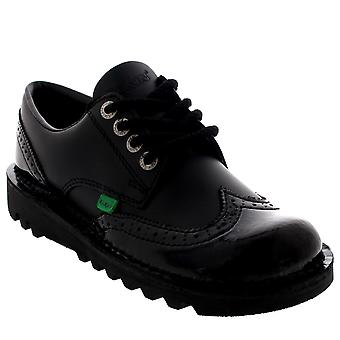 Womens Kickers Kick Lo Brogue Core Leather Patent Black School Work Shoes