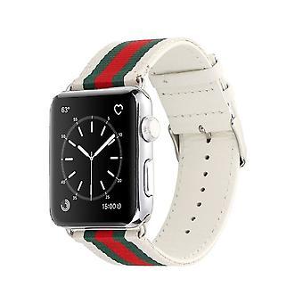 Cinghia in nylon per Apple Watch 1/2/3 38 mm-bianco/verde/rosso