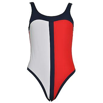 Tommy Hilfiger Tommy Hilfiger One-Piece Signature Swimsuit, Tango Red / Navy Blazer / White, Large