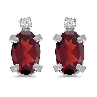 LXR Sterling Silber Oval Granat und Diamant Ohrringe 0.9 ct